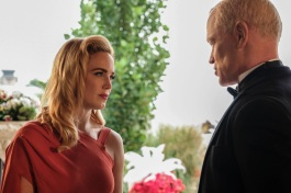 Caity Lotz as Sara Lance/White Canary (left) and Neal McDonough as Damien Darhk (right). Photo courtesy of DC Legends TV.