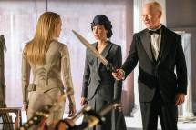 Pictured (L-R): Caity Lotz as Sara Lance/White Canary, Courtney Ford as Madame Elenor and Neal McDonough as Damien Darhk. Photo courtesy of DC Legends TV.
