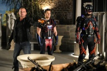 Pictured (L-R): Dominic Purcell as Mick Rory/Heat Wave, Nick Zano as Nate Heywood/Steel and Brandon Routh as Ray Palmer/Atom. Photo courtesy of DC Legends TV.