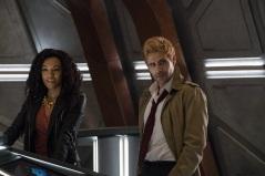 Maisie Richardson-Sellers as Amaya Jiwe/Vixen (left) and Matt Ryan as Constantine (right). Photo courtesy of DC Legends TV.