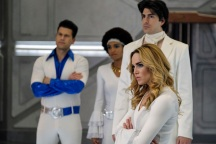 Pictured (L-R): Nick Zano as Nate Heywood/Steel, Maisie Richardson-Sellers as Amaya Jiwe/Vixen, Brandon Routh as Ray Palmer/Atom and Caity Lotz as Sara Lance/White Canary. Photo courtesy of DC Legends TV.